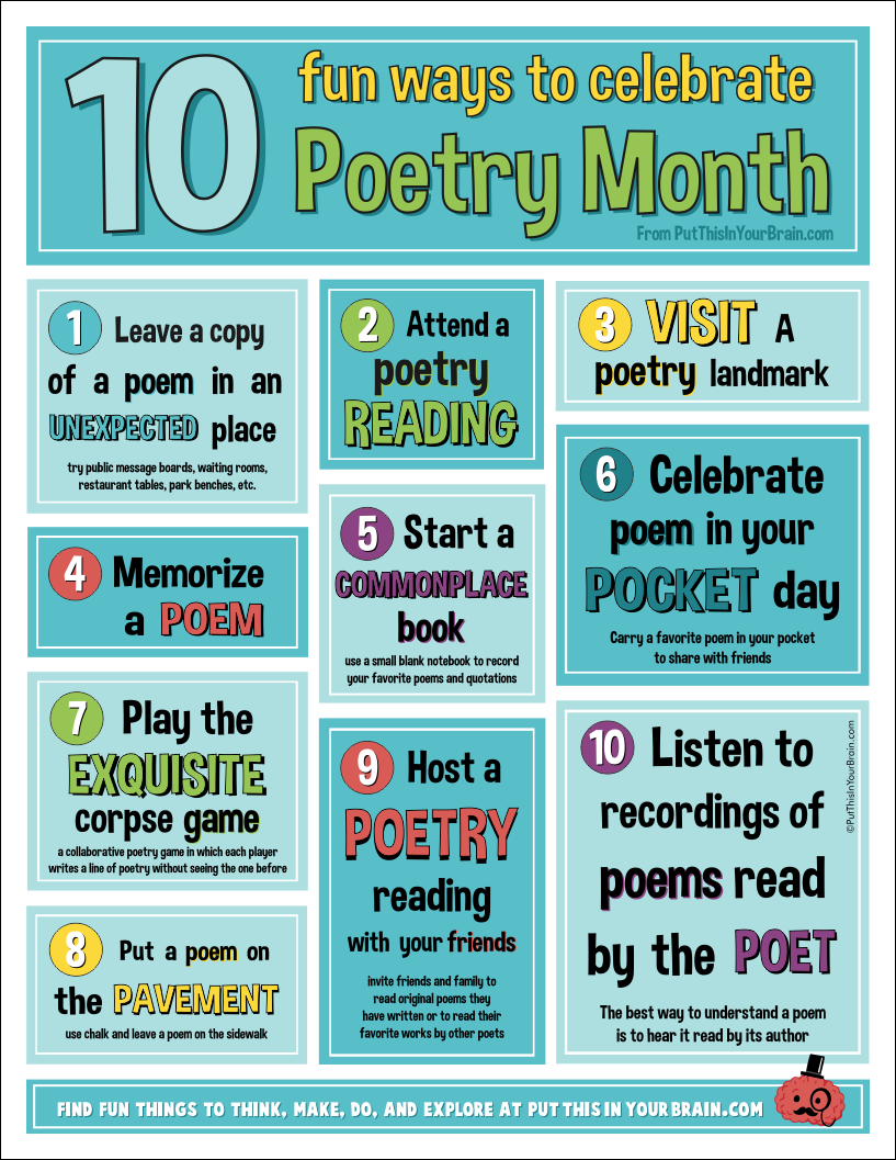 Free Printable Poetry Month Poster - Put This in Your Brain