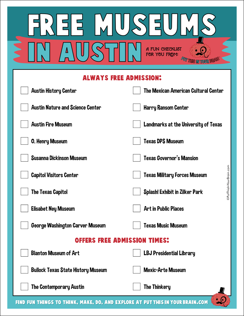 Free Museums in Austin Printable Checklist